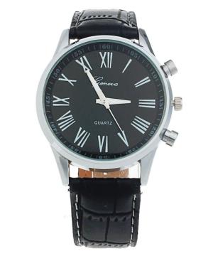 Мъжки черен часовник с римски циферблат