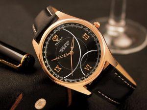 Бизнес клас часовник със златисти детайли