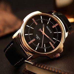 Мъжки часовник - черно и златисто и естествена кожа