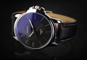 Мъжки сребрист часовник - естествена кожа - минерално стъкло