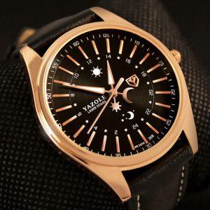 Модерен мъжки часовник от висок клас със златист корпус и кожена каишка