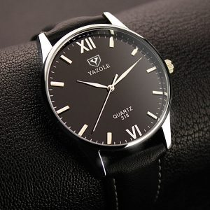 Висок клас сребрист мъжки часовник с минерално стъкло