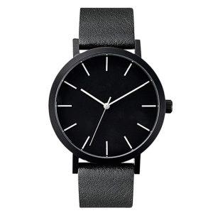 Черен изчистен часовник с каишка от ест. кожа